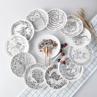 Top-grade Black & White Animal Bone China Cake Dishes And Plates Tableware For Dinner