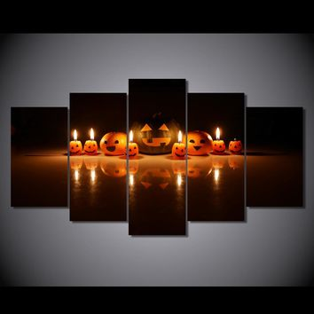 Halloween Wall Art Panel Picture Print on Canvas  Pumpkin and candles Spooky BOO