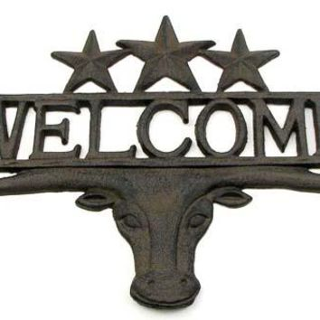 Cast Iron Steer 3 Star Welcome Plaque