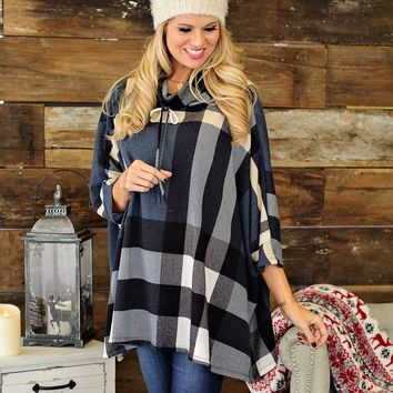 * Outshine The Rest Plaid Poncho; Navy