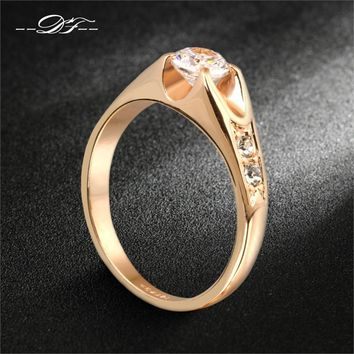 CZ Diamond Wedding RingRose Gold/Silver Tone Cubic Zircon Engagement Rings Jewelry For Men And Women Wholesale DFR249