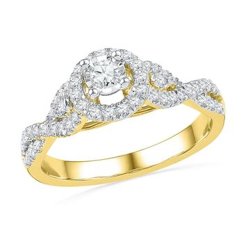 14kt Yellow Gold Womens Round Diamond Solitaire Twist Bridal Wedding Engagement Ring 1/2 Cttw