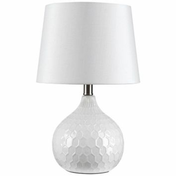Globe Electric 12912 White Ceramic Table Lamp w/ White Round Fabric Shade, 17.5""