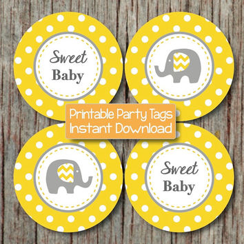 Yellow Grey Baby Shower Cupcake Toppers DIY Baby Shower Favor Tags Printable Party Supplies Elephant Sweet Baby INSTANT DOWNLOAD Boy Girl 79