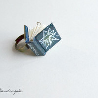 Tiny Dark Blue Green Book Ring. Necronomicon. Adjustable ring