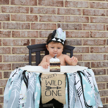 Adorable Aztec Gray Mint Black Feather Headband Feather Headdress for Baby Boy 0-12 Months First Birthday Teepee Birthday Pow Wow Wild ONE