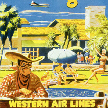 Las Vegas Western Airlines Travel Fine Art Print