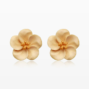 A Pair of Bali Blossom Handcarved Wood Earring Stud