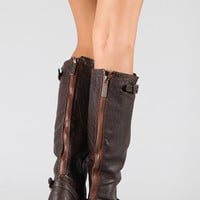 Breckelle Double Buckle Contrast Zipper Riding Knee High Boot