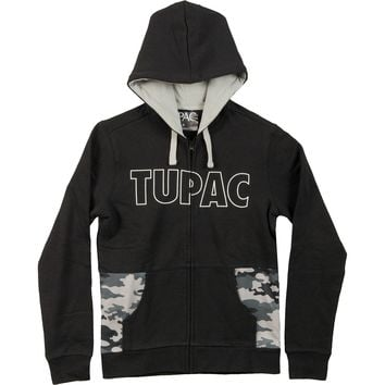 Tupac Men's  Embr Zippered Hooded Sweatshirt Black