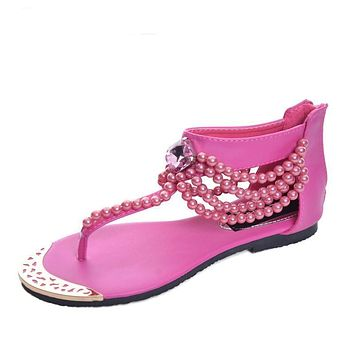 Bling Beading Sandals T-Strap Flip Flops Summer Style Flats Shoes Woman Rhinestone Pearl Casual Women Shoes