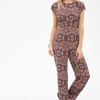 Contemporary Abstract Geo Print Jumpsuit | LOVE21 - 2000098975