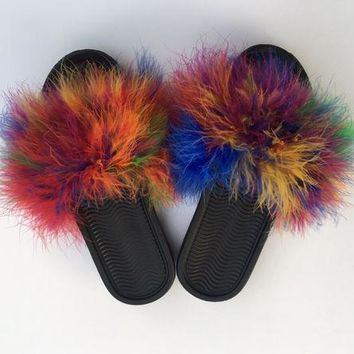 DCCKDW7 Rainbow furry fuzzy fur slides