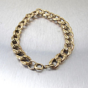 Victorian Curb Link Bracelet. Rose Gold Antique Engraved Embossed Curb Chain Bracelet.