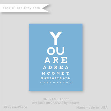 Wedding Gift, Bedroom Decor, You are a dream come true -Wall Art, Eye chart love gift typography anniversary gift  Yassisplace 025