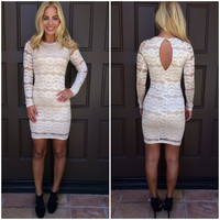 Scripted Bodycon Lace Dress - CREAM