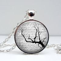 Script Tree Necklace : Black & White