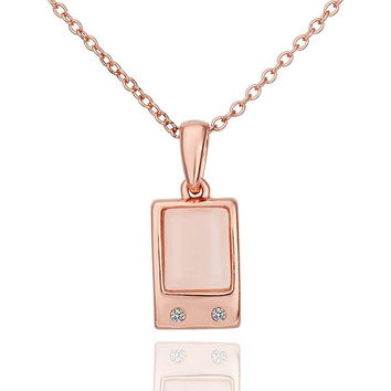 Rose Gold Plated Coral Ivory Square Necklace