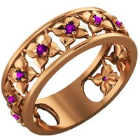 Amethyst Rose Gold Wedding Purple Flower Eternity Wedding band Ring Art Nouveau Leaves ring Filigree band Purple Floral Jewelry Wedding gift
