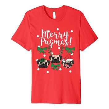 Funny Cute Pug Chirstmas Holiday Gift T Shirt for Girlfriend