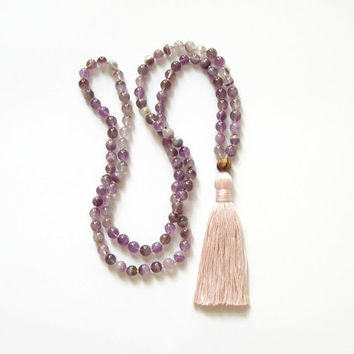 Purple amethyst mala beads tassel necklace, Buddhist prayer bead necklace mala 108, Crystal healing calming necklace