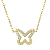 Silver 18k Gold Plated Butterfly Shape Cz Pendant