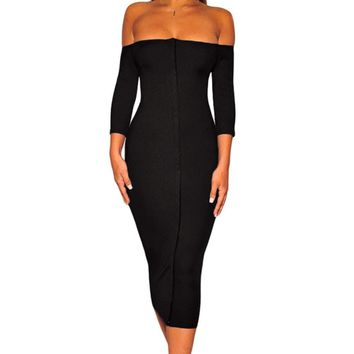 Invisible Button Down Black Off Shoulder Midi Dress