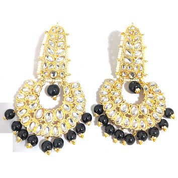 Bollywood celebrity design - Yellow gold polished with kundan Ramleela style bead earring