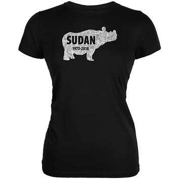 Sudan Last Male White Rhino Silhouette Juniors Soft T Shirt