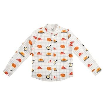 Unisex Food Grid Botton-Down Shirt