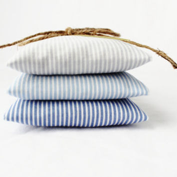 Nautical Stripes Lavender Sachets, Ombre Mini Pillows, Seaside Cottage