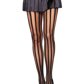 Leg Avenue Female Sheer Pantyhose With Opaque Vertical Stripes 9172