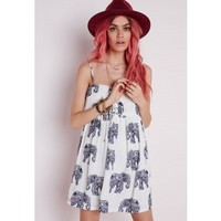 Drop Waist Lace Up Front Cami Dress White Elephant Print - Dresses - Cami Dresses - Missguided