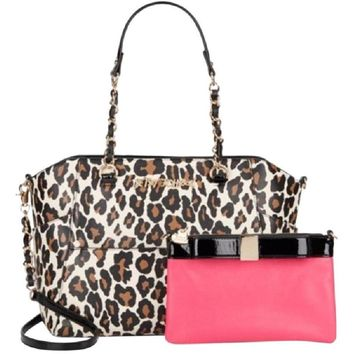 Betsey Johnson Hidden Treasure Tote Leopard Print Satchel Bag