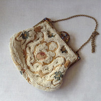 1920's-1930's Antique, Gorgeous Beaded And Embroidered Evening Bag, Formal