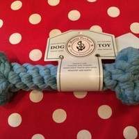 Harry Barker Small Light Blue Cotton Rope Bone Toy, Dog Chew Toy, Dog Tug Toy | Toad Hollow