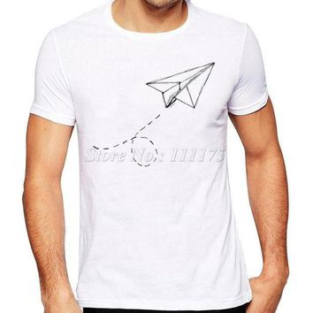 PEAPGE2 Beauty Ticks Summer Fashion Paper Airplane Printed T Shirt Men S Cool Design Tops Custom Hipster Tees