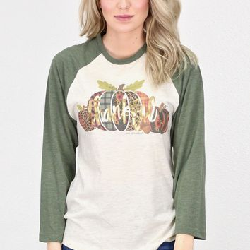 Thankful Pumpkins Raglan {Oat/Moss}