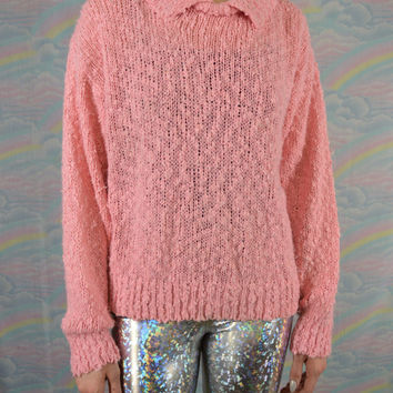 Soft Grunge Sweater 90s Kawaii Pastel Grunge Pink Pullover Sweater Womens Oversize Jumper Size Medium