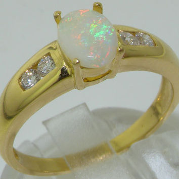 18K 18ct Yellow Gold Natural Australian Opal & Diamond Engagement Ring - Made in England - Made in Your Finger Size
