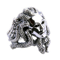 Greek Goddess Medusa Ring Snake Head Design Men's Jewelry Apparel-Size 10