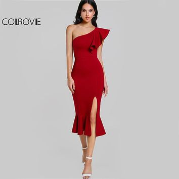 COLROVIE Slit Fishtail Summer Party Dress Burgundy One Shoulder  Women Sexy Flounce Midi Dresses Elegant Empire Club Dress