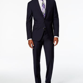 Bar III Men's Dark Navy Windowpane Slim Fit Suit Separates, Only at Macy's