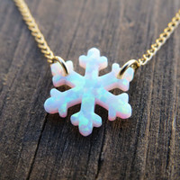 Opal necklace, opal snowflake necklace, white opal necklace, opal gold necklace, opal jewelry, snowflake necklace, October birthstone