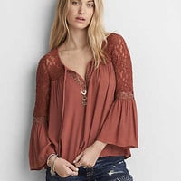 AEO Lace Bell Sleeve Shirt, Brown