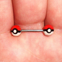 Pokemon Pokeball Nipple Ring
