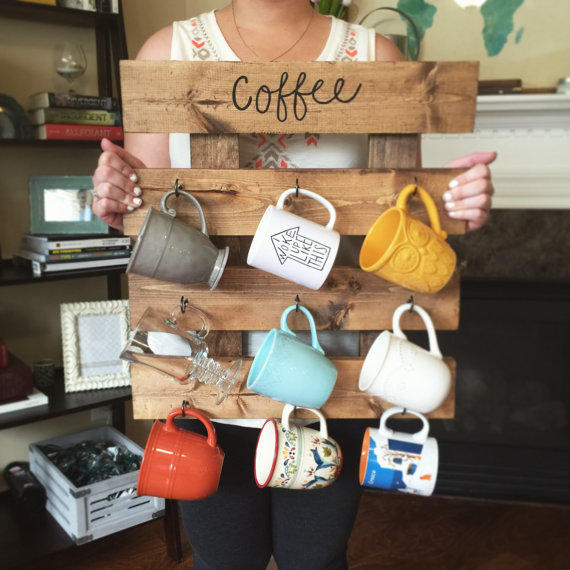 Coffee Mug Rack Reclaimed Wood Look From PineWoodLights On Etsy