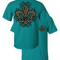 Southern Couture Leopard Fleur De Lis Animal Print Jade Girlie Bright T Shirt