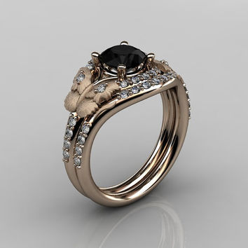 14KT Rose Gold Diamond Butterfly and Vine Black Diamond Wedding Ring,Engagement Ring NN117SS-14KRGDBD Nature Inspired Jewelry