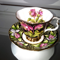Royal Albert Provincial Lady's Slipper tea cup and saucer, bone china English tea set, floral teacup, ladys slipper tea